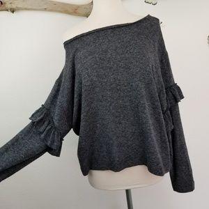 Zara heathered charcoal gray oversized ruffled top